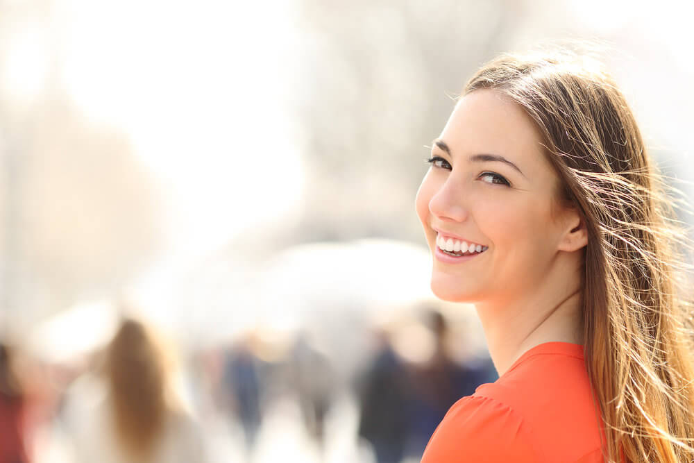 Morgan Street Dental Centre Dental Crowns - Beautiful Woman with Great Smile and White Teeth