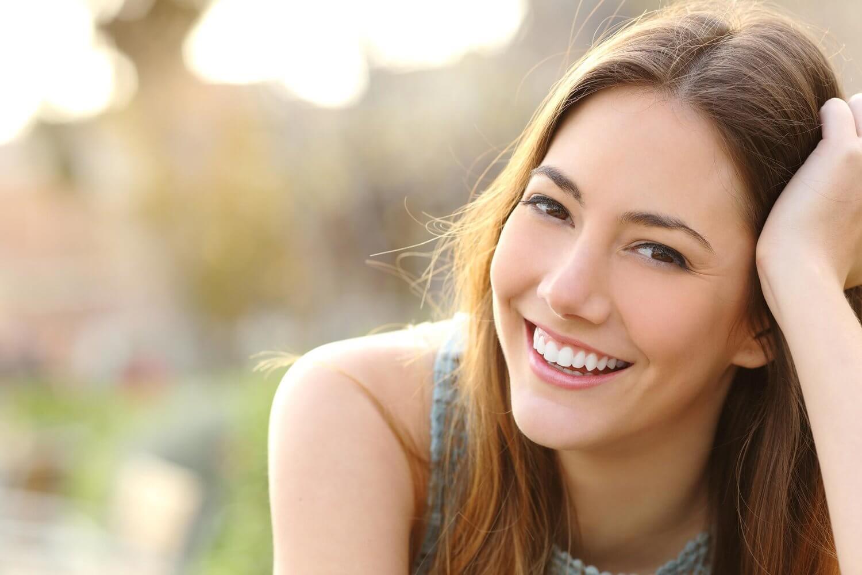 Morgan Street Dental Centre Porcelain Dental Veneers - Beautiful Woman with Perfect White Teeth Smiling